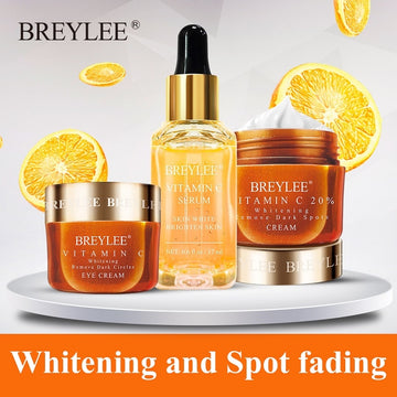 BREYLEE Vitamin C Whitening Set Face Serum Facial Cream Mask Fade Freckles Spots Melanin Eye Cream Remove Dark Circles Skin Care