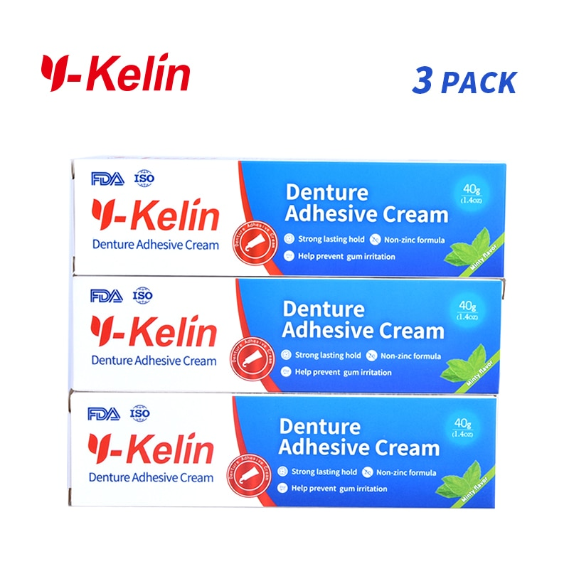 Y-Kelin Denture Adhesive Cream 120 gram (40g*3 packs) Strong dentadura  adhesive denture prosthesis teeth glue removable