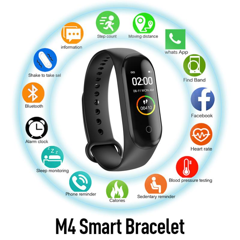 M4 Smart Watch Blood Pressure Heart Rate Wristband Health Fitness Sports Waterproof Men Women Bracelet For Android IOS