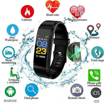 115plus Smart Band Bracelet Blood Pressure Health Wristband Waterproof Smart Watch Men Women Fitness Health Tracker Watch