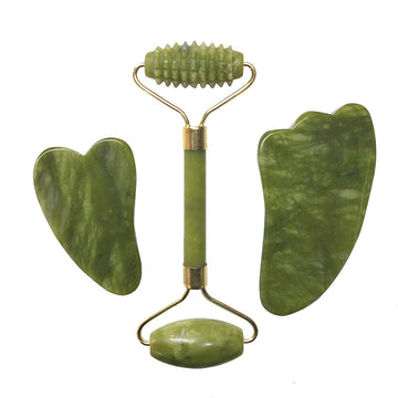 Natural Jade Roller Facial Massager Real Stone Face Roller Guasha Massage Board Set Guasha Tool Jade Roller Guasha Massage Board