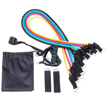 New 11Pcs Resistance Bands Set Yoga Exercise Fitness Band Rubber Loop Tube Bands Gym Fitness Exercise Pilates Yoga Brick