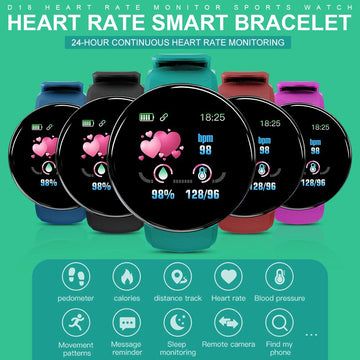 D18 Bluetooth Smart Sport Bracelet Health Monitoring Pedometer Sport Watch Compatible IOS Android for Women Men Smart Watch