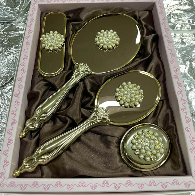 Special Care Mirror for Women Trotting Brush Comb Handle Hair Brush special Zircon Secondary suede 5 AND 4 Pieces