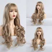 Natural Long Hair Wig With Bang Heat Resistant - Hella Gorgeous Co.
