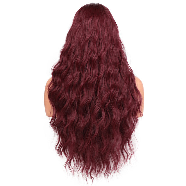Long Wavy Black , Brown & Red Wave Synthetic Wig - Hella Gorgeous Co.
