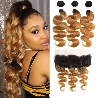 Honey Blonde Wave Non Remy Hair Closure - Hella Gorgeous Co.