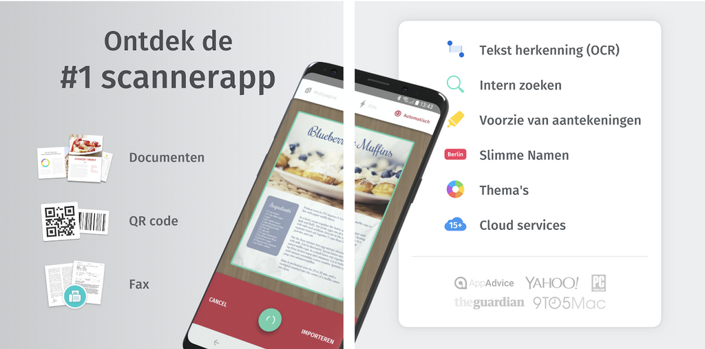 Scanner app voor digitaliseren van notities