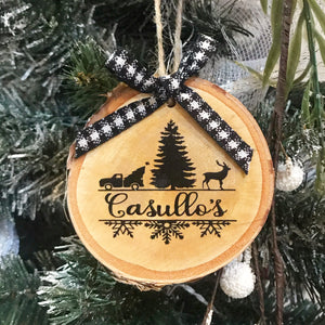 Personalized Christmas birch ornament. This ornament is 3.5 x 3.5 round.