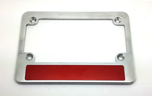 Custom License Plate Frame Motor Cycle Silver
