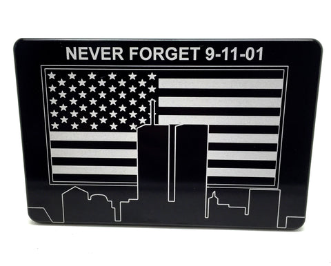 Trailer Hitch Cover NEVER FORGET 9-11-01 WITH AMERICAN FLAG
