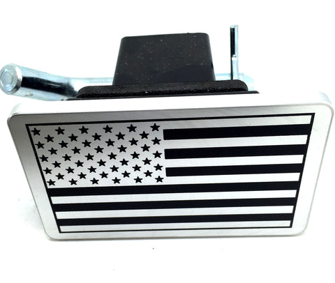 American Flag Silver with Black flag