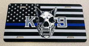 K9 With Dog Skull and American Flag Blue line