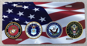 American Flag with Army, Navy, AirForce, Marines