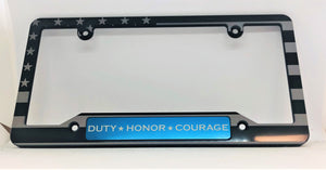 Blue Line with Flag and Duty Honor Courage