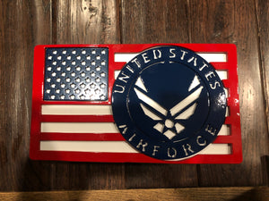 Large American Flag with Air Force Badge Full Color All Steel