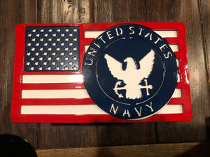 Large American Flag with Navy Badge Full Color All Steel
