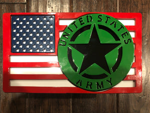 Large American Flag with Army Badge Full Color All Steel
