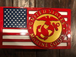 Large American Flag with Marine Badge Full Color All Steel