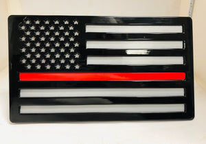 Large American Flag Black and Gray Thin Red Line All Steel
