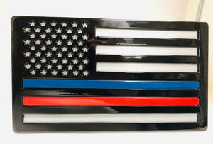 Large American Flag Black and Gray Thin Red and Blue Line All Steel