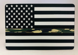 American Flag B/W WITH THIN CAMO LINE