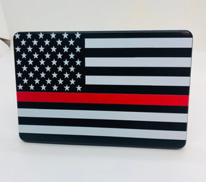 RED LINE WITH AMERICAN FLAG