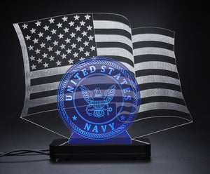 United States Navy With American Flag