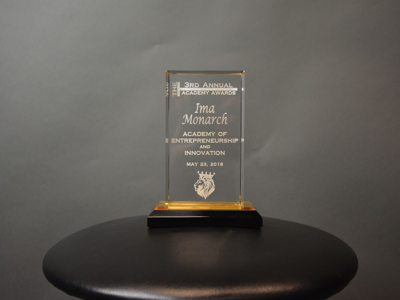 Laser engraved award