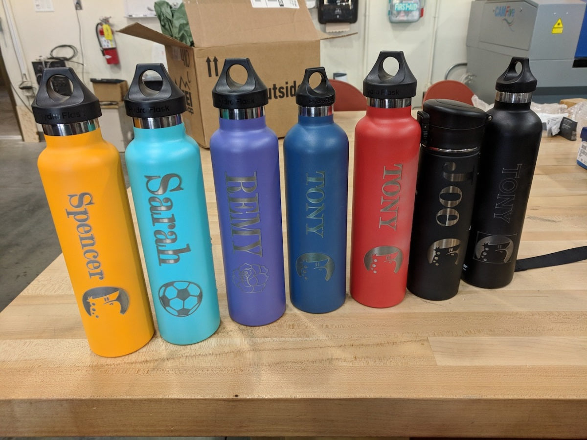 Laser engraved water bottles