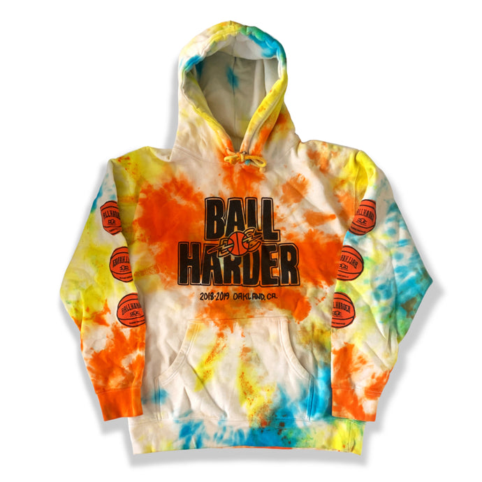 TIE DYED BALL HARDER HOODIE (LARGE)