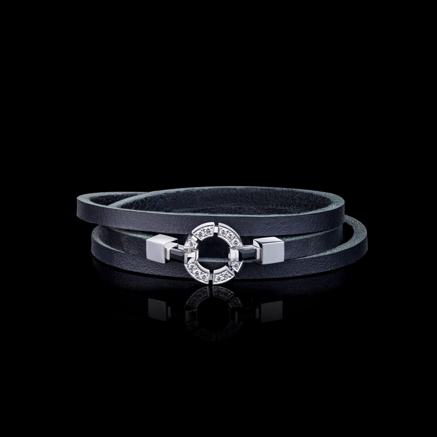 Regina 18ct white gold single link diamond and Australian black sapphire leather bracelet by Stefano Canturi