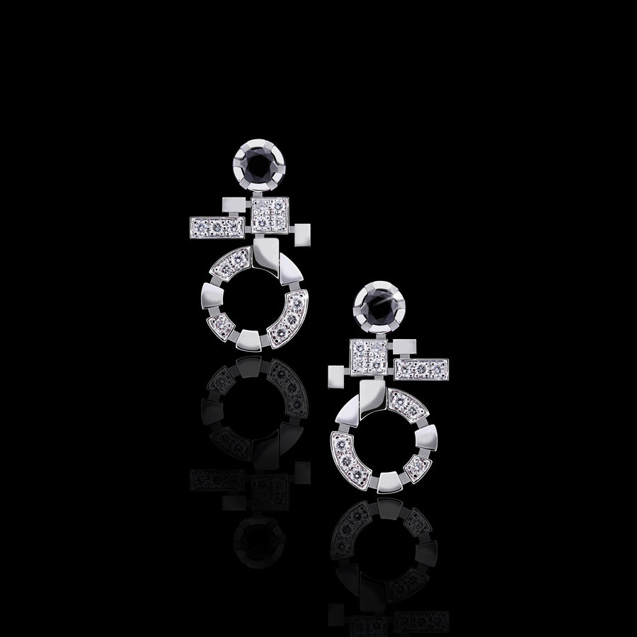 Regina Single Link diamond drop earrings in 18ct white gold by Stefano Canturi