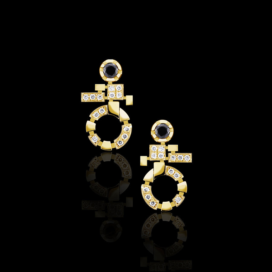 Regina Single Link diamond drop earrings in 18ct yellow gold by Stefano Canturi