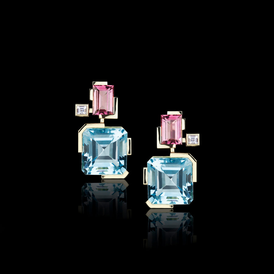 Cubism Colourburst pink tourmaline and blue topaz drop earrings in 18ct yellow gold by Stefano Canturi