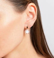 Regina diamond, moonstone, Australian bkack sapphire drop earrings in 18ct pink gold by Stefano Canturi