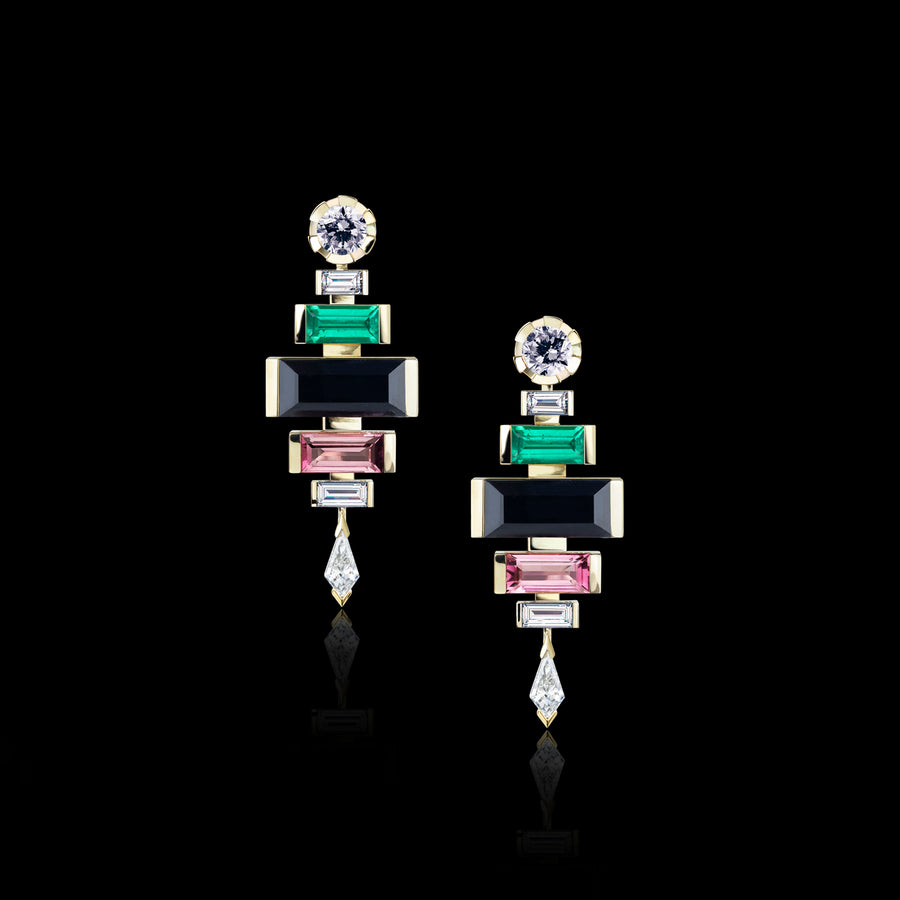 Regina Royale 6 drop diamond and gemstone earrings in 18ct yellow gold by Stefano Canturi