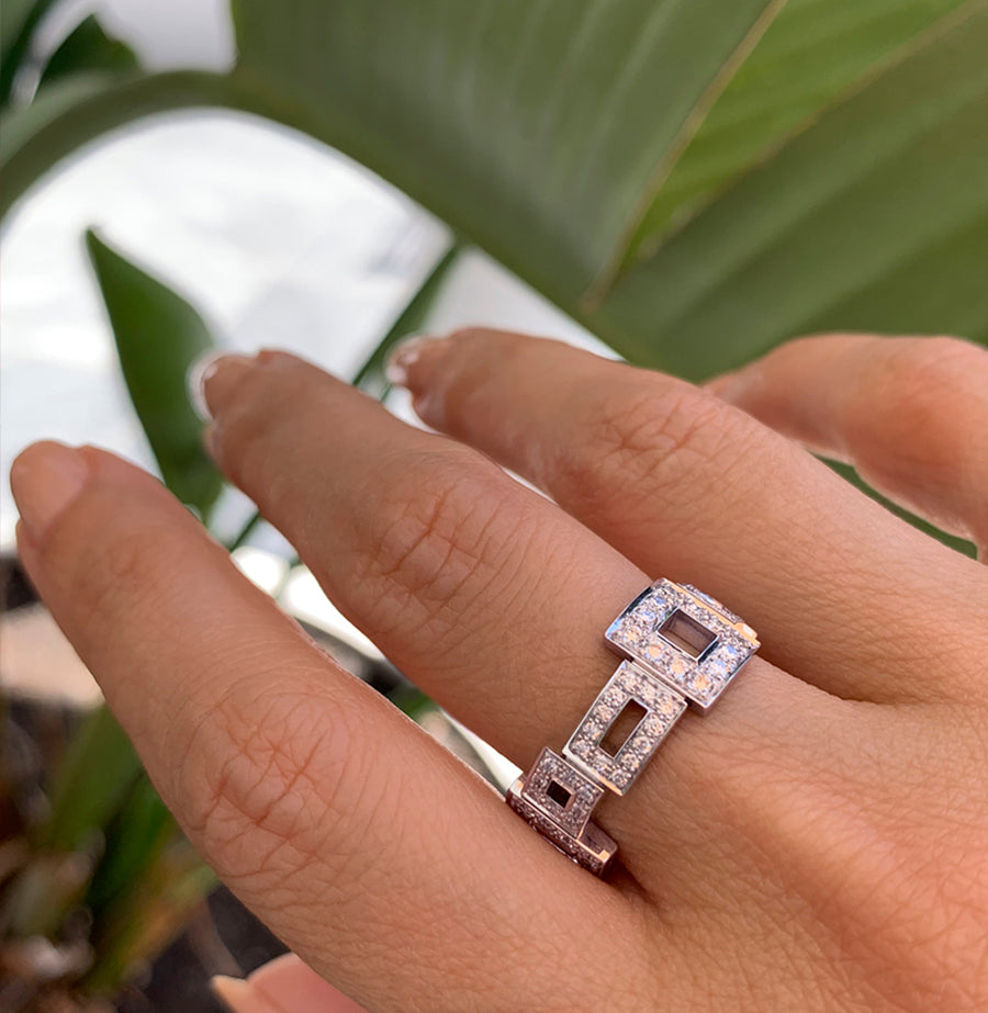Geometric diamond ring set in 18ct white gold by Stefano Canturi