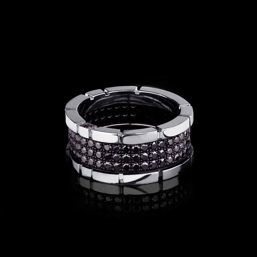 Regina 3 row black diamond ring in 18ct white gold by Stefano Canturi