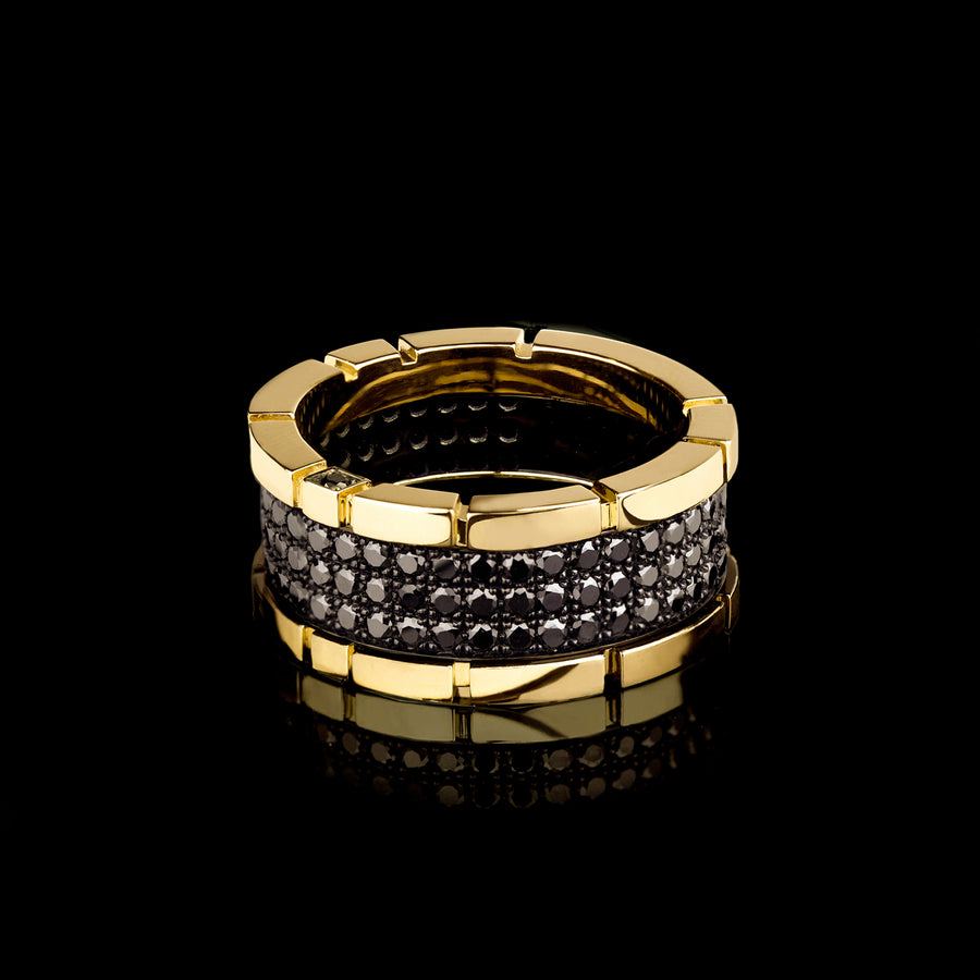 Regina 3 row black diamond ring in 18ct yellow gold by Stefano Canturi