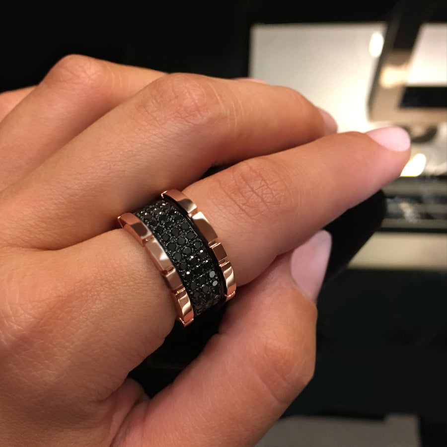 Regina 3 row black diamond ring in 18ct pink gold by Stefano Canturi