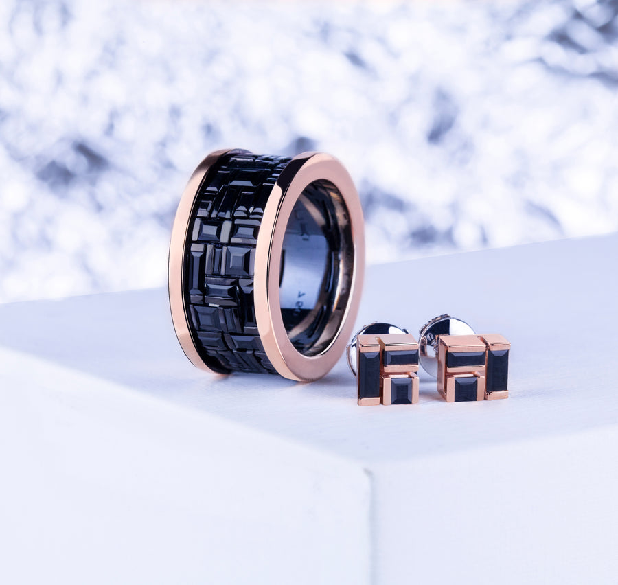 Cubism wide Australian black sapphire ring and earrings in 18ct pink gold by Stefano Canturi