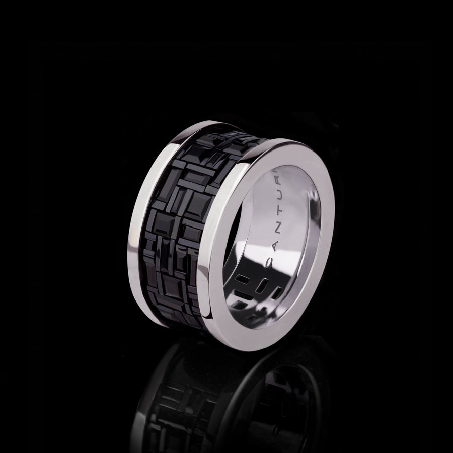 Cubism wide Australian black sapphire ring in 18ct white gold by Stefano Canturi