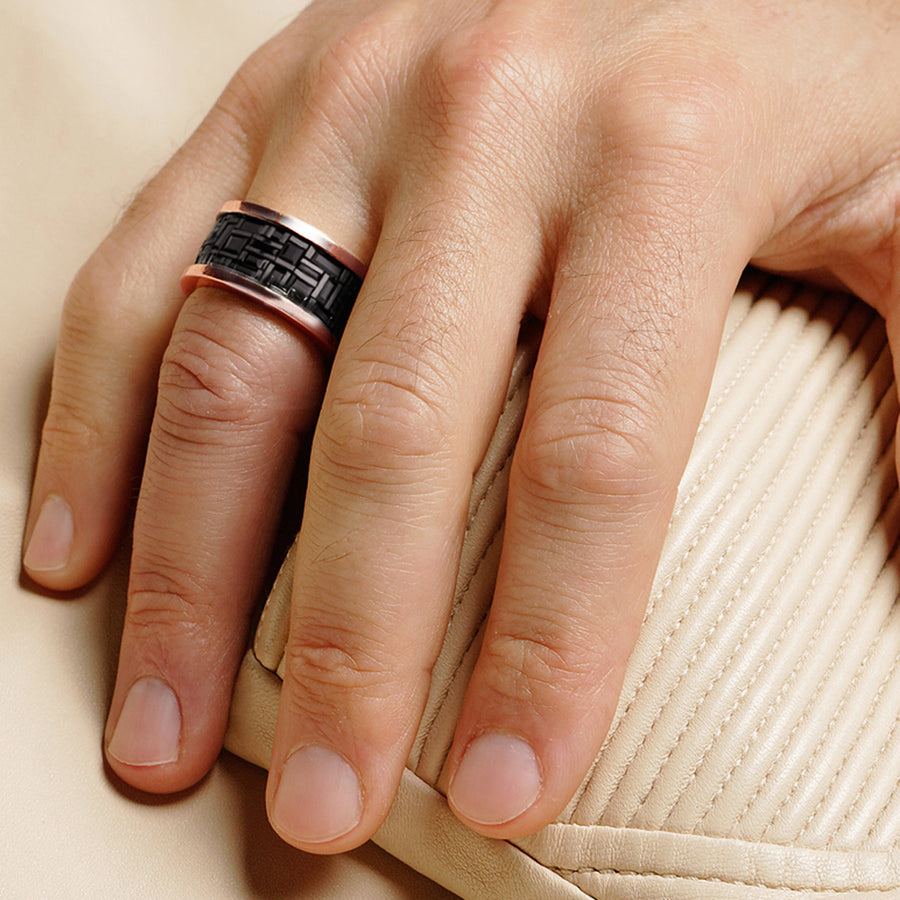 Cubism wide Australian black sapphire ring in 18ct pink gold by Stefano Canturi