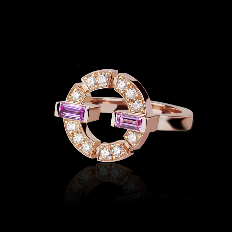 Regina Single Link Ring featuring diamonds and pink sapphire in Pink Gold by Stefano Canturi