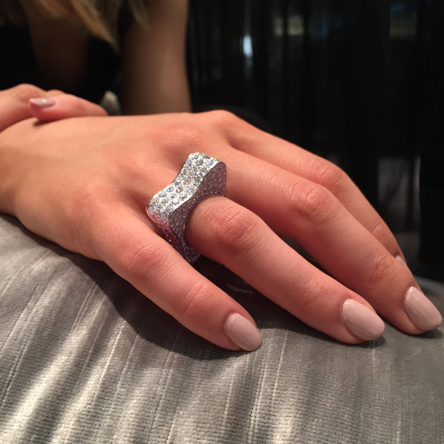Island Luxe diamond Liquid ring in 18ct white gold by Stefano Canturi