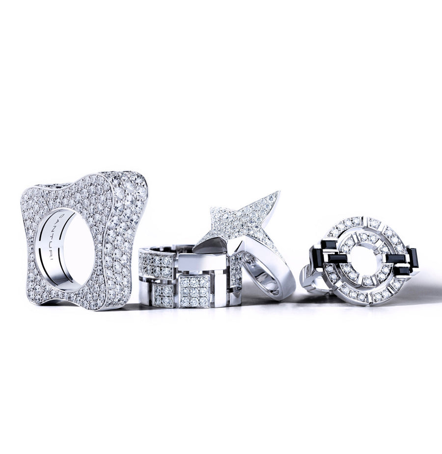 Diamond rings in 18ct white gold by Stefano Canturi