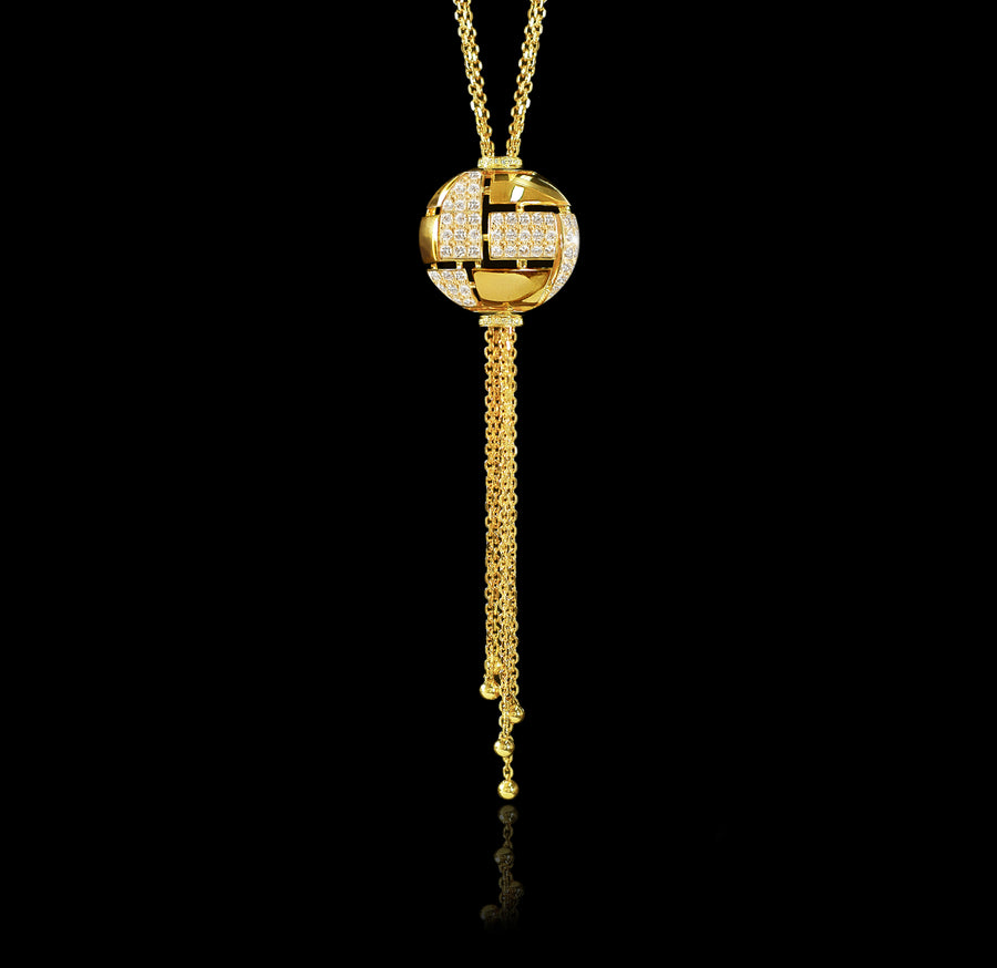 Cubism Globe diamond neckpiece in 18ct yellow gold by Stefano Canturi
