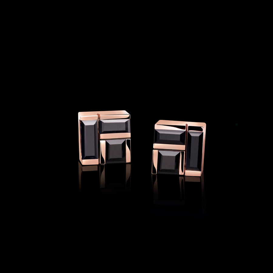 Cubism Australian black sapphire stud earrings set in 18ct pink gold by Stefano Canturi