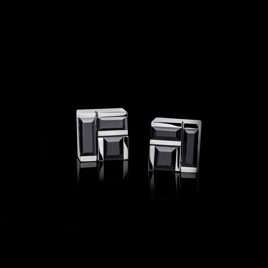 Cubism Australian black sapphire stud earrings set in 18ct white gold by Stefano Canturi